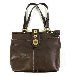 Coach Lily Legacy Tote Dark Brown Leather Shoulder